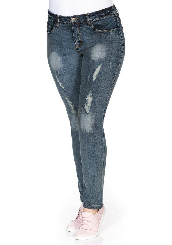 sheego Denim Schmale Stretch-Jeans in light blue Denim