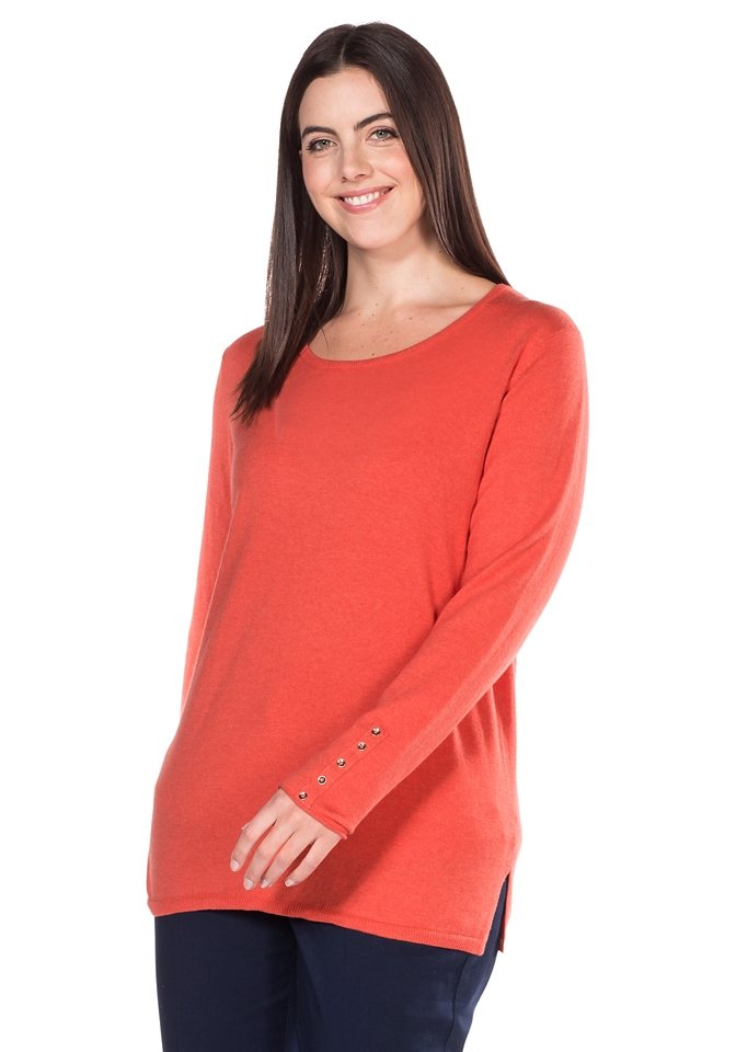 sheego Class Pullover in koralle