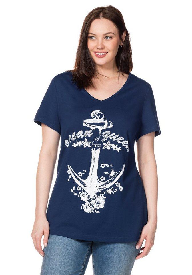sheego Casual T-Shirt mit Frontdruck in nachtblau