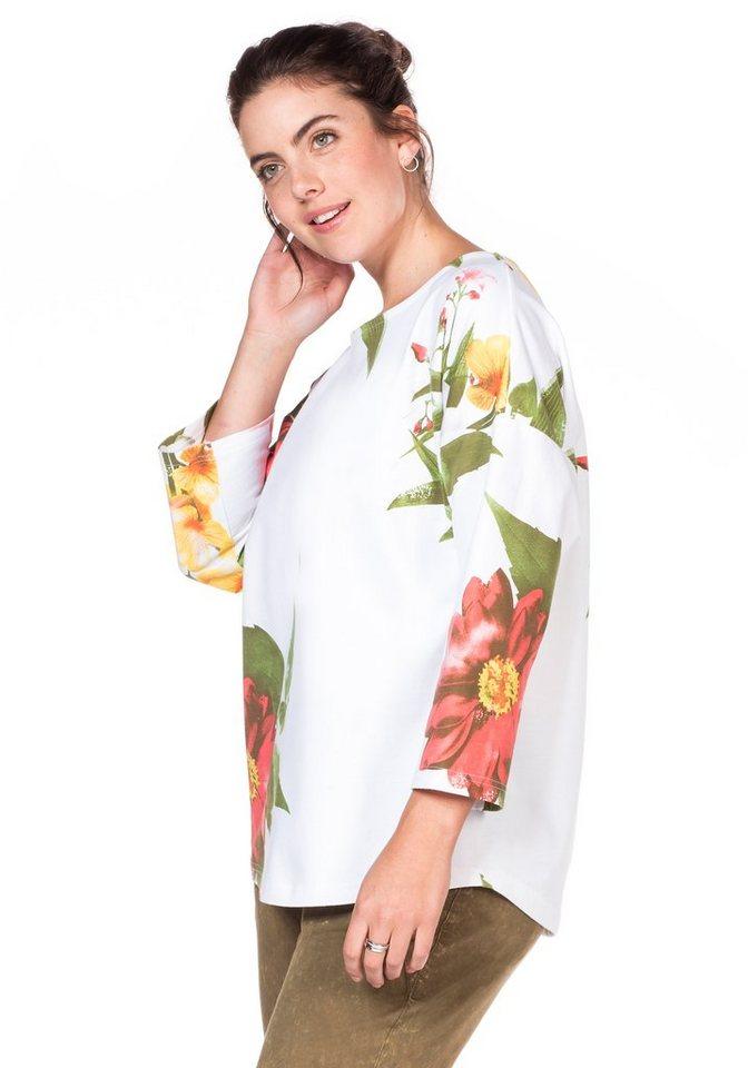sheego Casual Sweatshirt mit Blumendruck in weiß allover