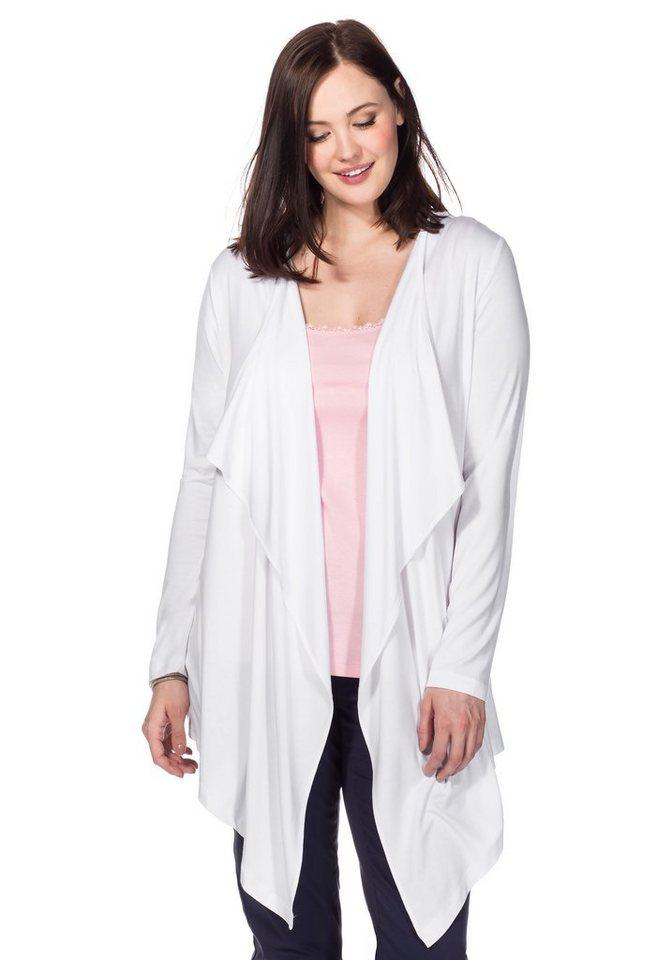 sheego Casual BASIC Shirtjacke in Zipfeloptik in weiß