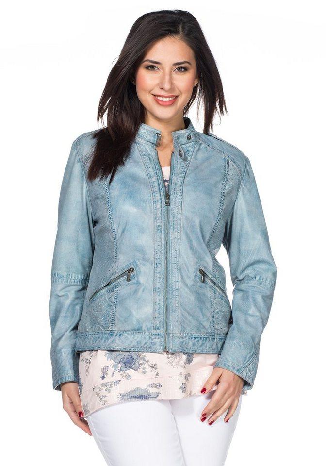 sheego Style Lederjacke in bleu