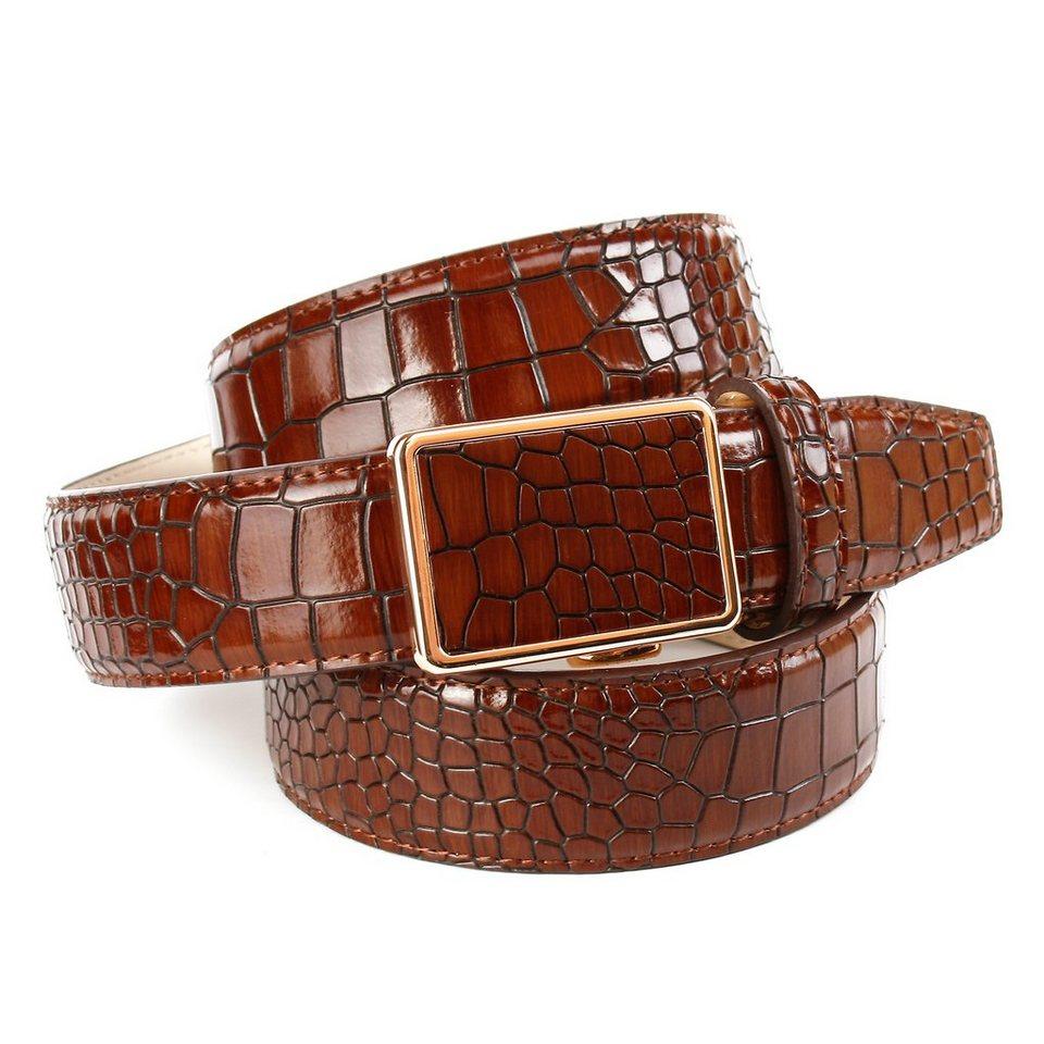 Anthoni Crown Ledergürtel mit Krokomuster in Cognac