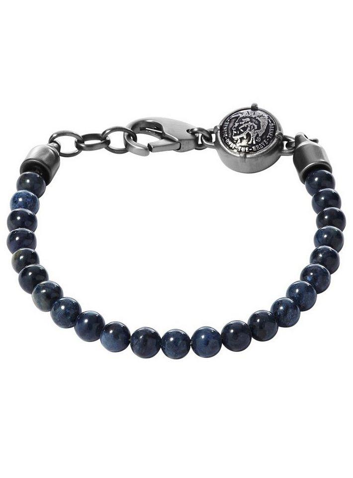 Diesel Armband mit Sodalith, »Denim, DX0877060« in grau-blau