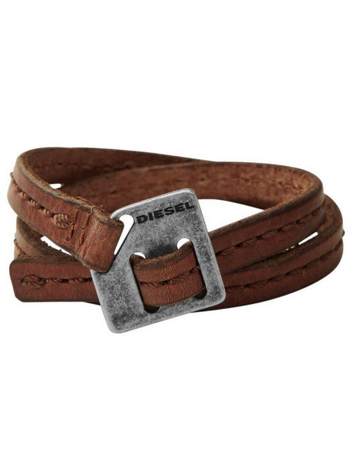 Diesel Armband zum Wickeln, »DX0568040« in hellbraun-grau