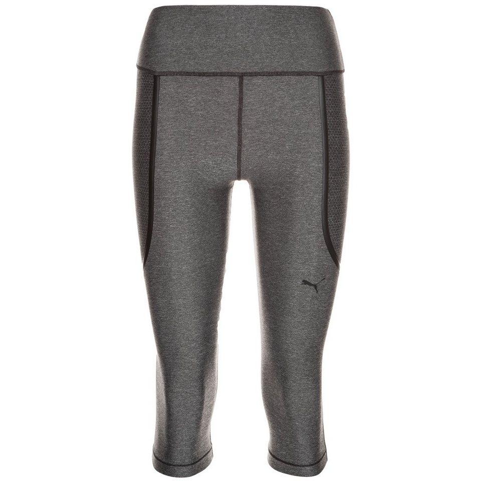 PUMA PWRShape Knee Capri Trainingstight Damen in grau / schwarz