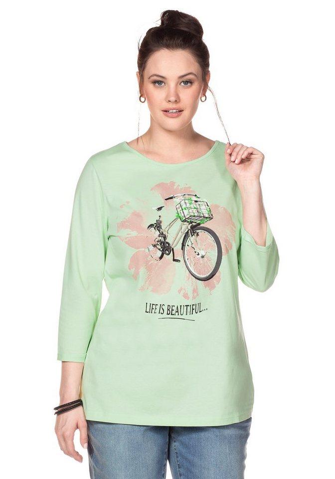 sheego Casual 3/4-Arm-Shirt in apfelgrün