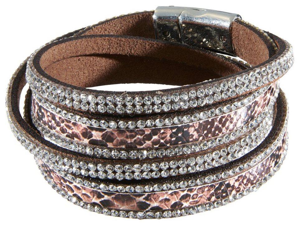 Heine Armband mit Snakeprägung in rosé/weiß