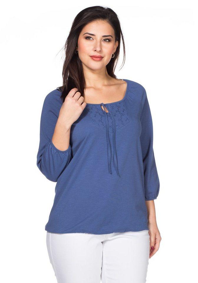 sheego Style Langarmshirt in rauchblau