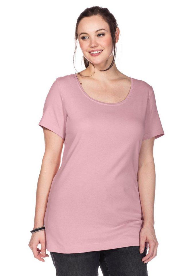 sheego Casual BASIC Shirt Long Rundhalsausschnitt in rose