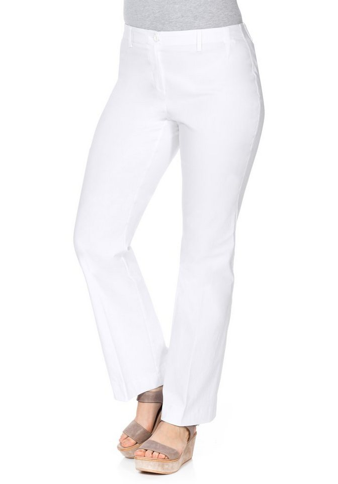 sheego Casual BASIC Bootcut-Stretch-Hose mit Gummizug in weiß