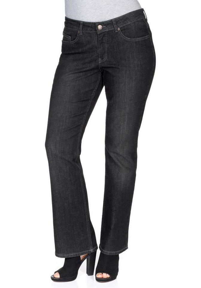 sheego Denim Bootcut-Stretch-Jeans in black denim