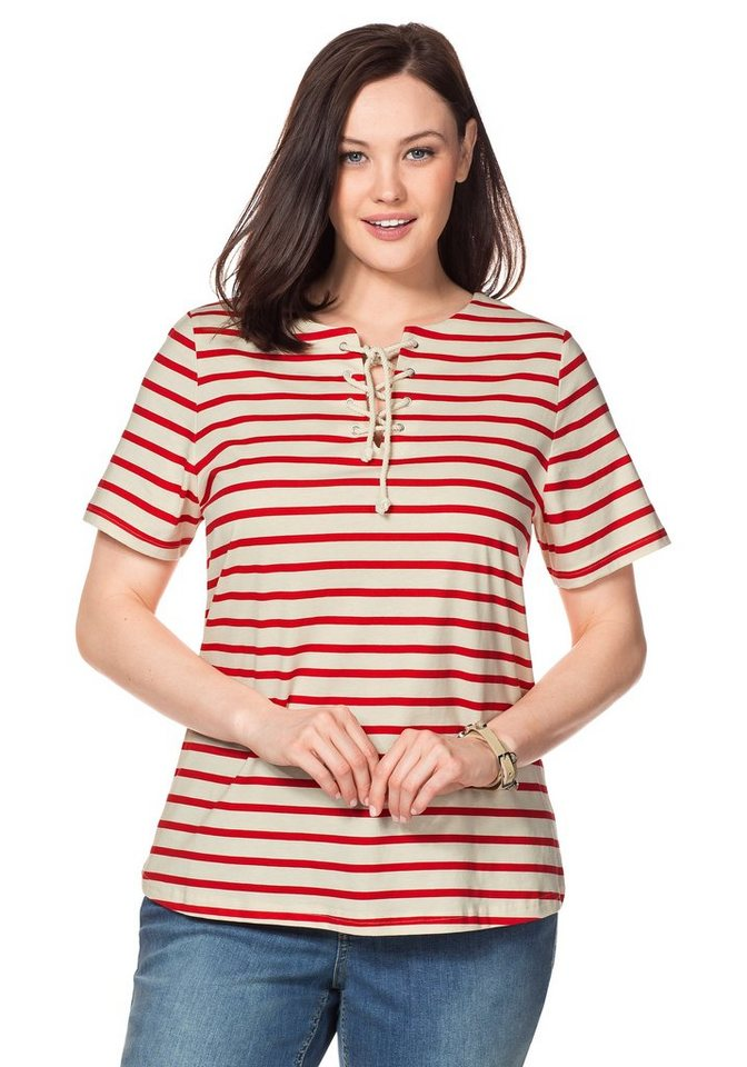 sheego Casual T-Shirt in tomatenrot-elfenbein