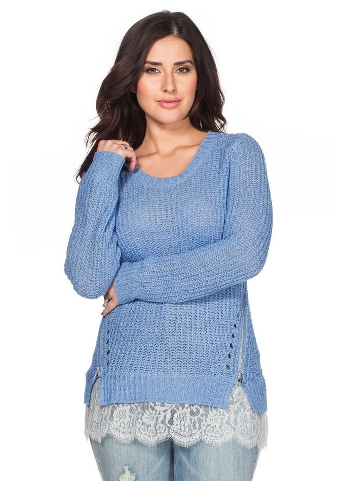 sheego Trend Pullover in pastellblau