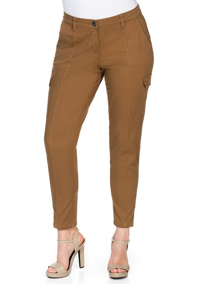 sheego Casual Schmale Stretch-Hose in braun