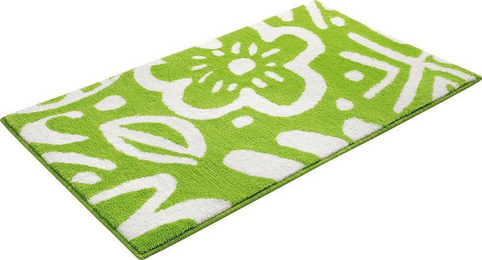 Badematte, Esprit, »Cool Flower«, Höhe 10 mm, rutschhemmender Rücken in grün