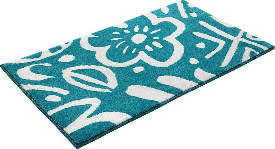 Badematte, Esprit, »Cool Flower«, Höhe 10 mm, rutschhemmender Rücken in türkis