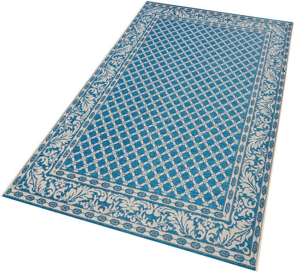 Outdoor-Teppich in hellblau mit Ornamenten
