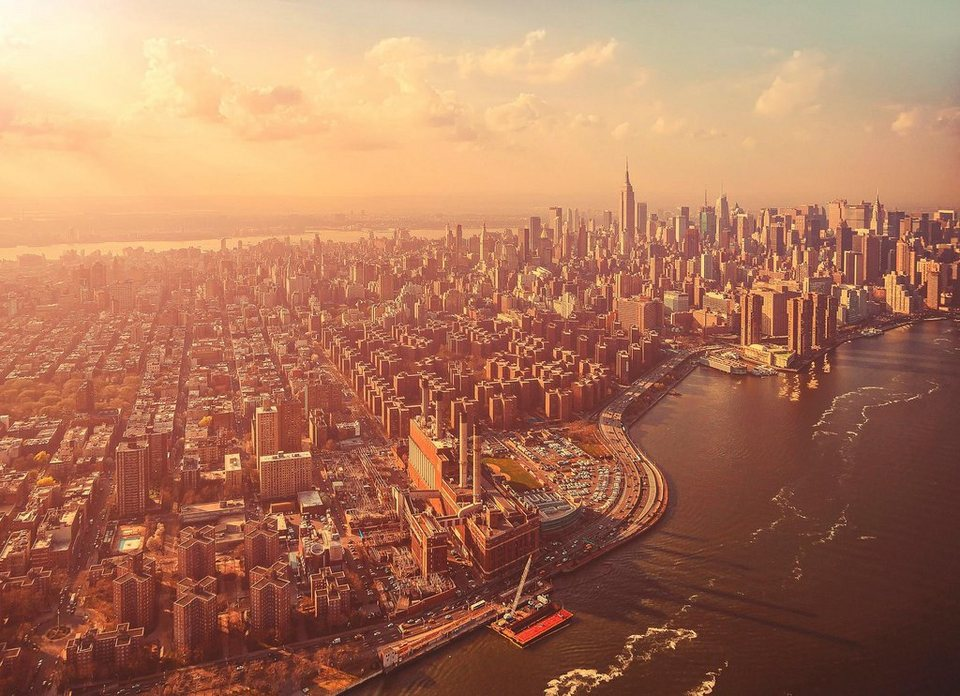 Komar Fototapete »Manhattan«, 254/184 cm in beige / grau