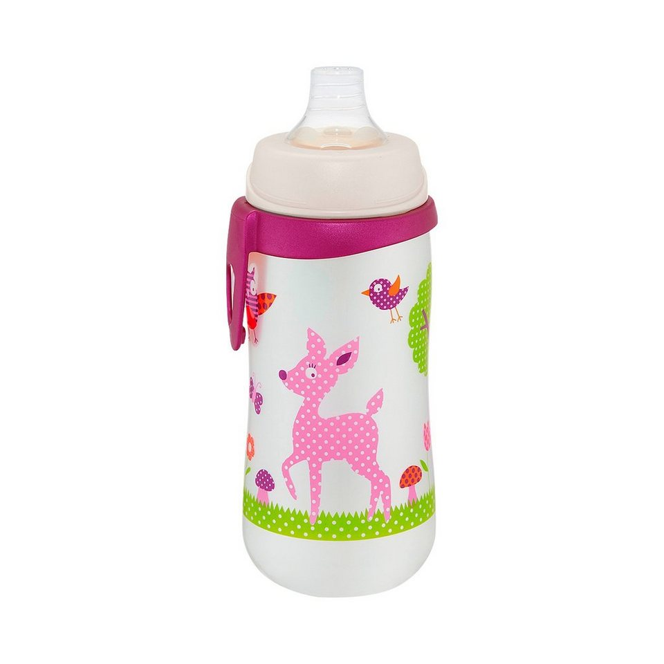 NIP Trinkflasche First Cup Waldtiere in rosa