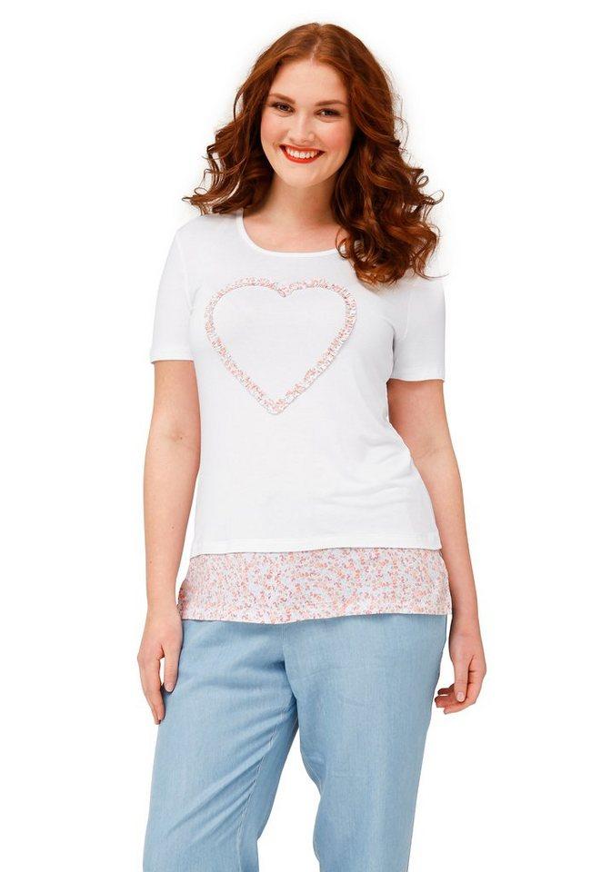 sheego Trend T-Shirt in weiß bedruckt