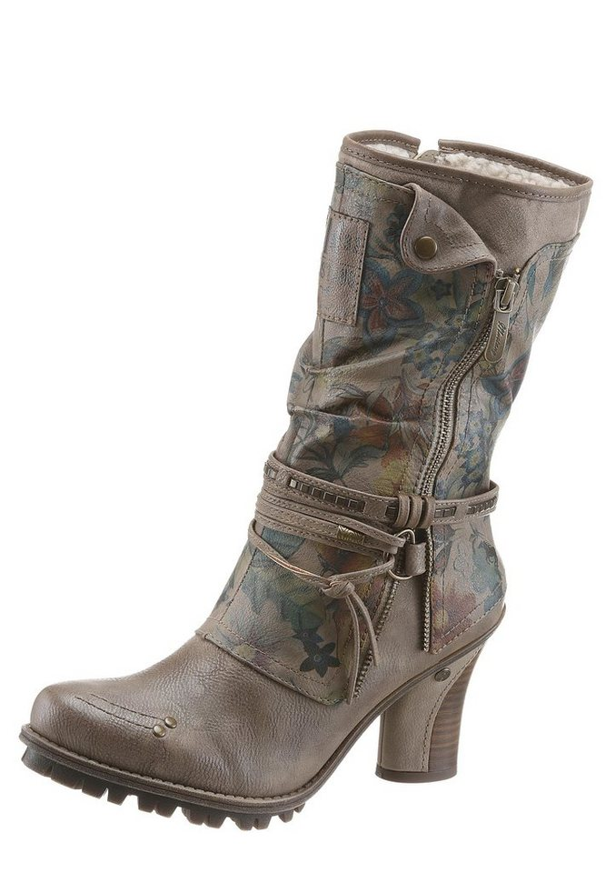 Mustang Shoes Winterstiefel mit floralem Print in taupe-multi