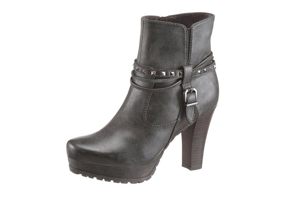 Tamaris High-Heel-Stiefelette mit Zierbändern in grau