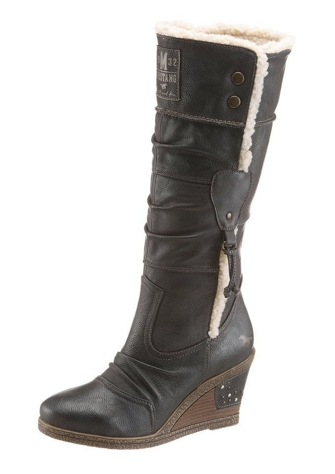 Mustang Shoes Keilstiefel in anthrazit