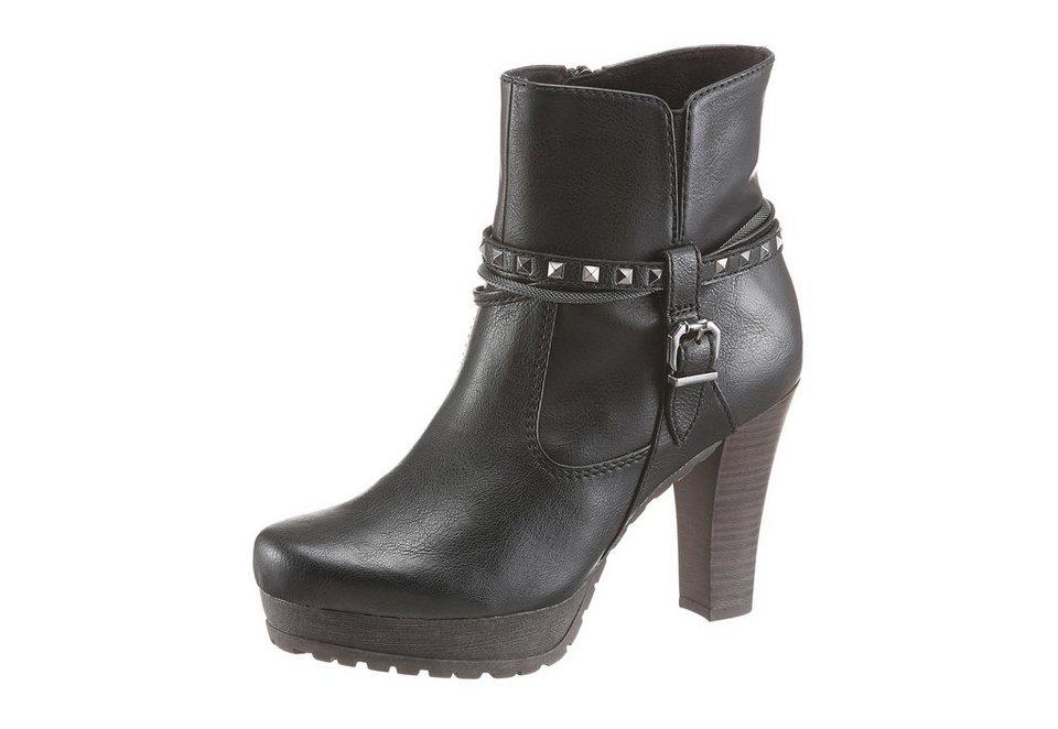 Tamaris High-Heel-Stiefelette mit Zierbändern in schwarz