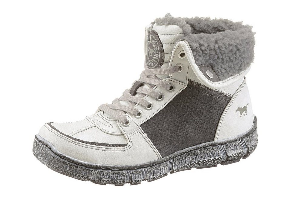 Mustang Shoes Schnürboots in offwhite-grau