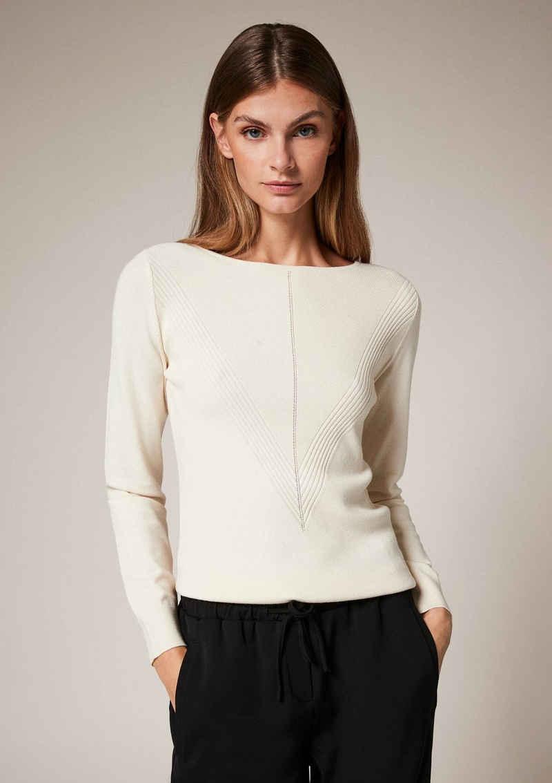 Comma Langarmshirt »Pullover mit Rippmuster« (1-tlg)