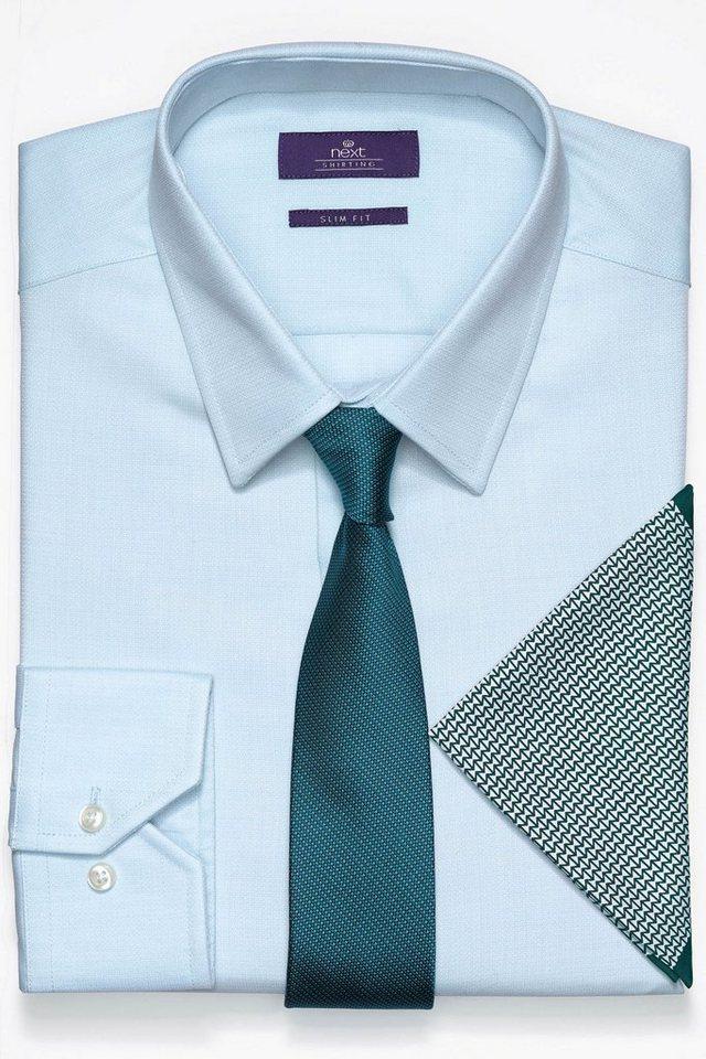 Next Strukturhemd, Krawatte und Einstecktuch im Set 3 teilig in Aqua Slim-Fit