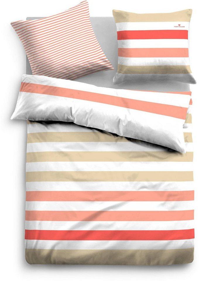 Bettwäsche, Tom Tailor, »Fidelius«, mit gleichmäßigen Streifen in rot-beige