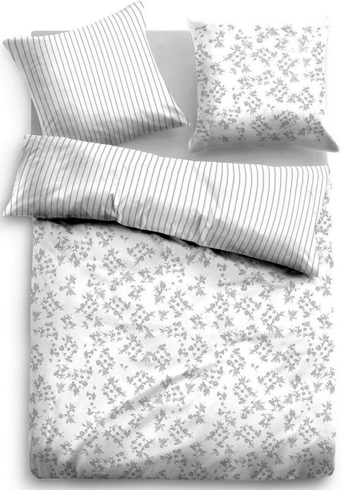 Wendebettwäsche, Tom Tailor, »Soleil«, mit Blümchen in grau-weiß