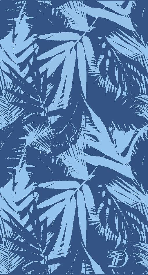 Strandtuch, Tom Tailor, »Palm Tree«, mit Palmenblättern in blau