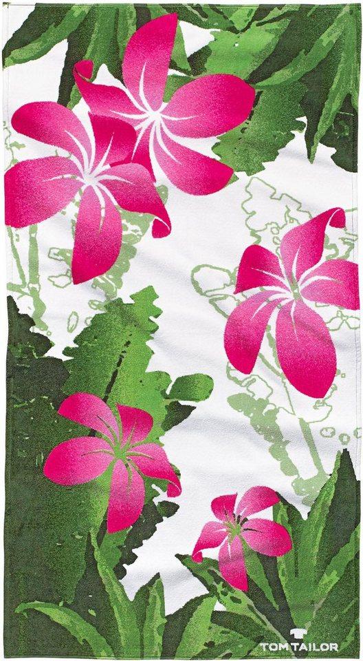 Strandtuch, Tom Tailor, »Dschungle«, mit großen Blüten in grün-pink