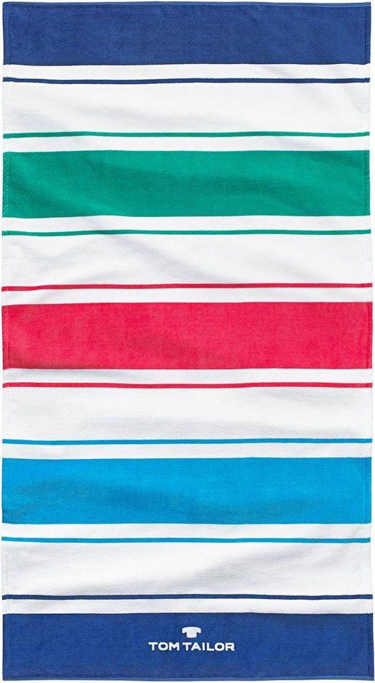 Strandtuch, Tom Tailor, »Stripes«, mit Farbstreifen in blau