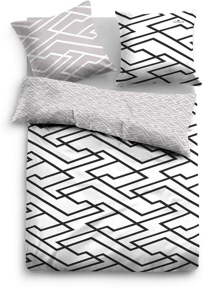 Wendebettwäsche, Tom Tailor, »Labbi«, mit Labyrinthmuster in schwarz-grau