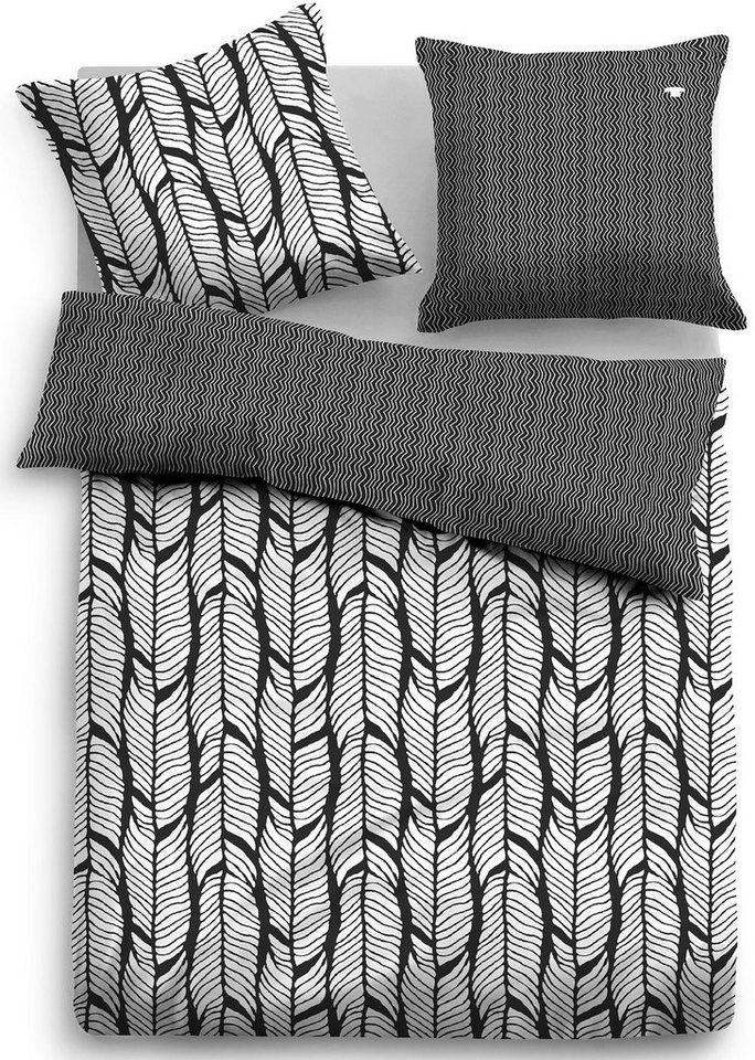 Wendebettwäsche, Tom Tailor, »Feder«, mit Mustern in schwarz