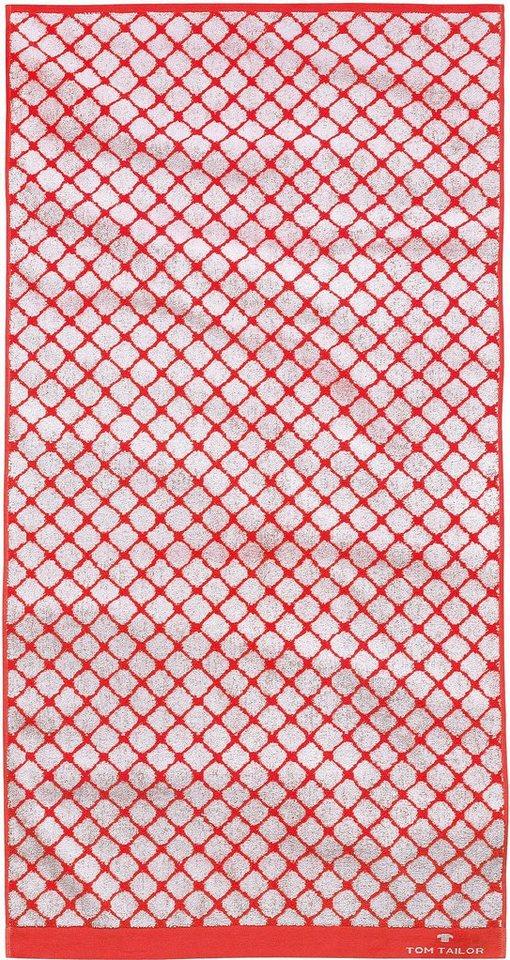 Badetuch, Tom Tailor, »Andrew«, mit Netz-Optik in rot