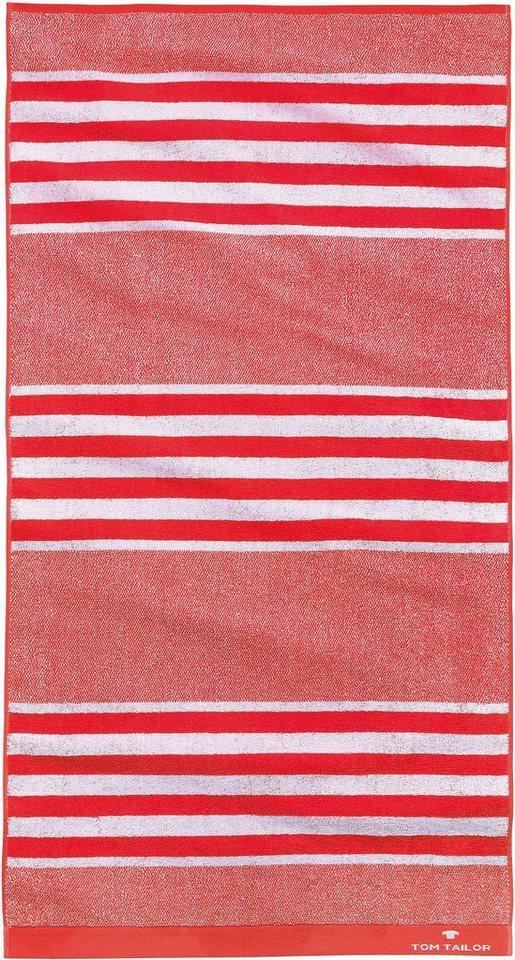 Badetuch, Tom Tailor, »Sprint«, mit Streifen in rot