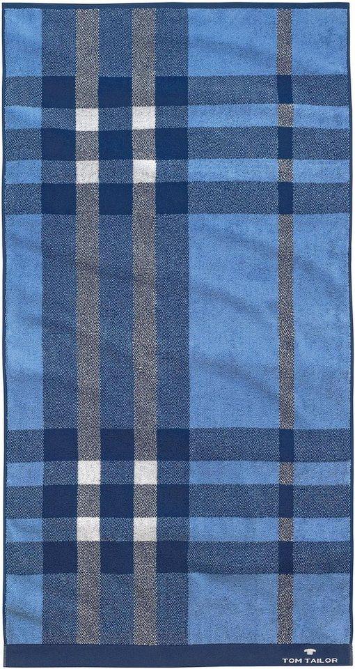 Handtücher, Tom Tailor, »Checker«, mit Karos & Struktur in blau