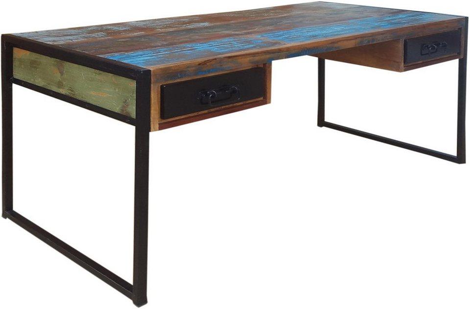 SIT Schreibtisch »Bali«, aus recyltem Altholz in bunt lackiert