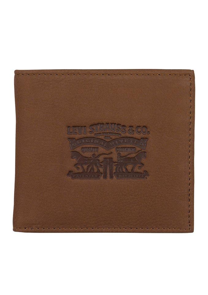 LEVI`S® Geldbörse aus Leder mit Prägung in braun