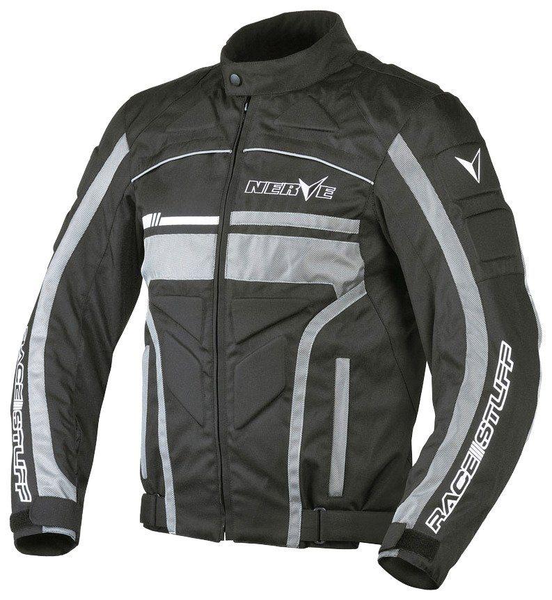 Herrenmotorradjacke »Race Stuff« in schwarz/silber
