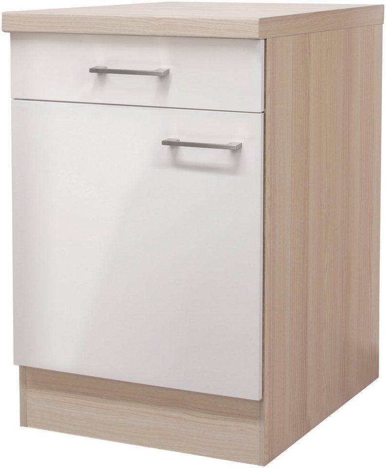 Küchenunterschrank »Oregon«, Breite 60 cm in perlmuttfarben/akaziefarben