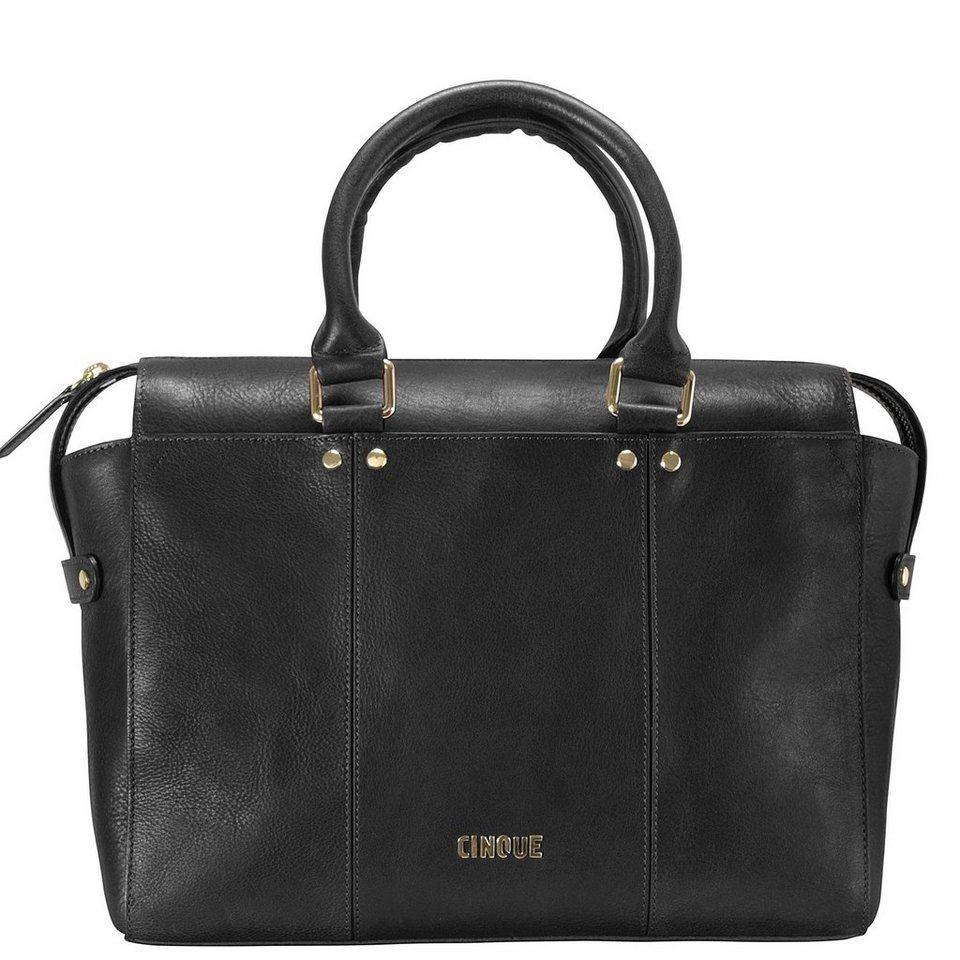 Cinque Rosella Shopper Tasche Leder 30 cm in schwarz