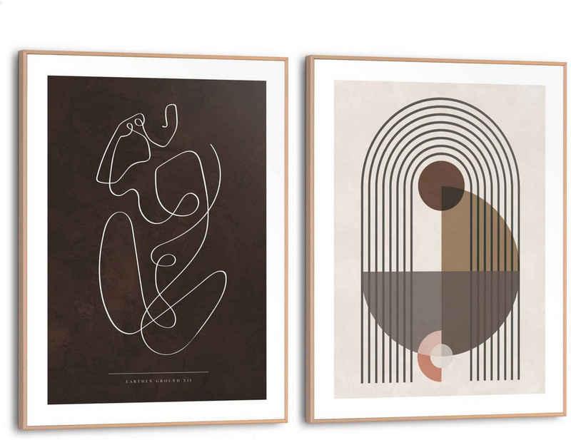 Reinders! Wandbild »Abstrakte Linien Formen - Frau - Linienzeichnung«, (2 Stück)
