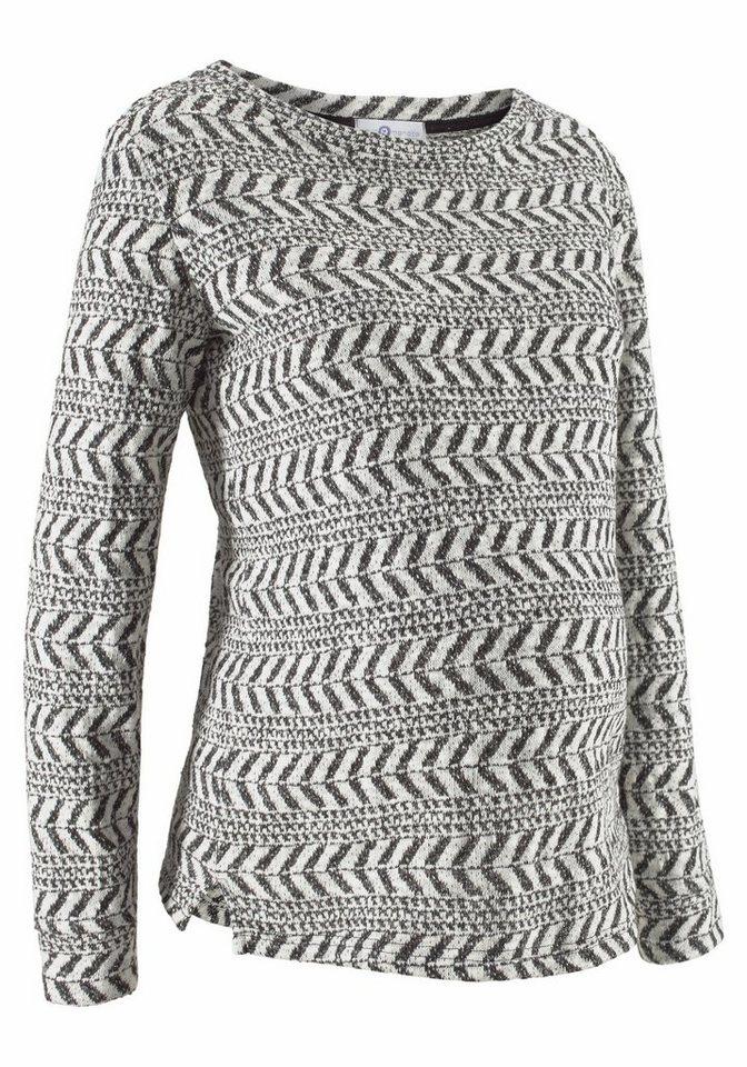 Neun Monate Umstandssweatshirt aus modischer Strukurware in offwhite-schwarz