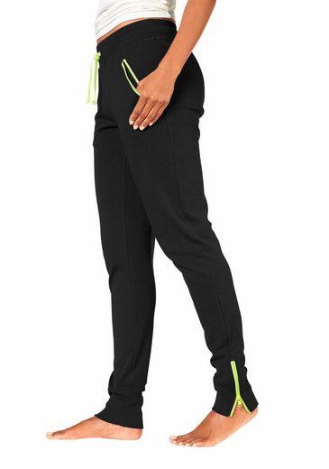 H.I.S Relaxhose mit neonfarbenem Zippern